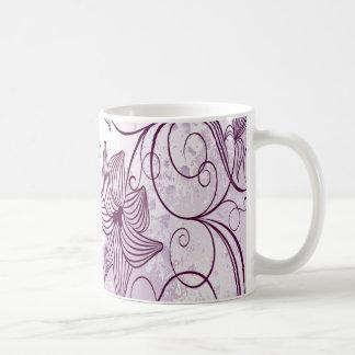Flores púrpuras muy hermosas taza de café