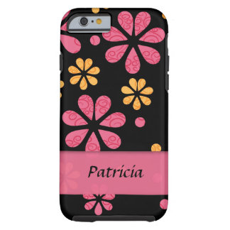 Flores retras rosadas personalizadas en negro funda para iPhone 6 tough
