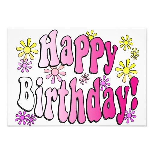 Flores retras y fiesta rosado del feliz cumpleaños invitacion personal
