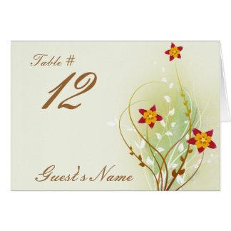 flores rojas bonitas en suavemente verde tarjeta pequeña