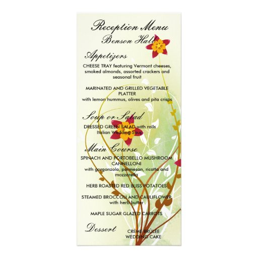flores rojas bonitas en suavemente verde tarjeta publicitaria a todo color