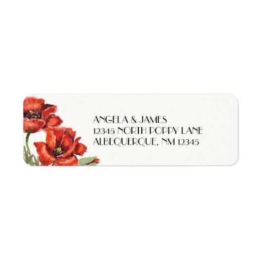 Flores rojas de la amapola de la acuarela etiquetas de remite