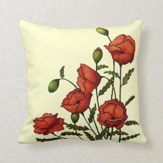Flores rojas de la amapola: Ilustraciones Cojín Decorativo