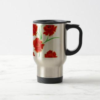 Flores rojas de la amapola taza de viaje