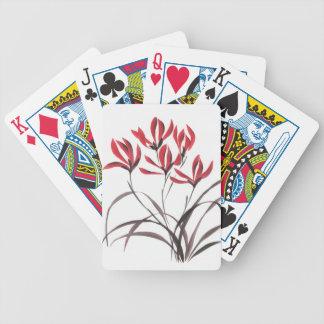 Flores rojas de la montaña baraja cartas de poker