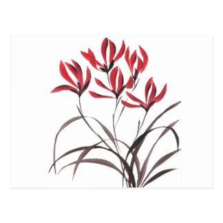 Flores rojas de la montaña postal
