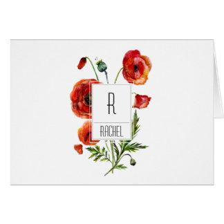 Flores rojas florales de la amapola de la tarjeta