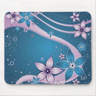 flores rosadas azules - arte del vector alfombrillas de ratones