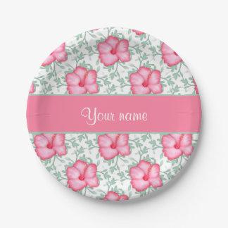 Flores rosadas bonitas del hibisco plato de papel