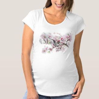 Flores rosadas camiseta de premamá