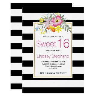Flores rosadas, cumpleaños del dulce dieciséis de invitación 12,7 x 17,8 cm