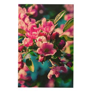 Flores rosadas de Apple de cangrejo Impresión En Madera