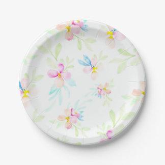 Flores rosadas de la acuarela plato de papel