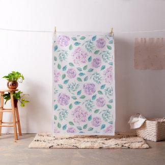 Flores rosadas de la lavanda y modelo verde de las telas