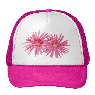 Flores rosadas de la margarita gorros bordados