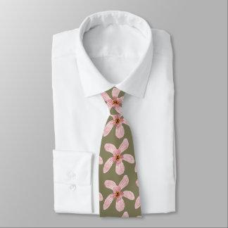 Flores rosadas de la orquídea corbata personalizada