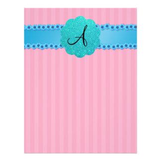 Flores rosadas del azul de las rayas del monograma folleto 21,6 x 28 cm