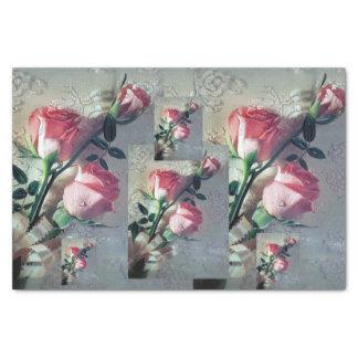 Flores rosadas del cordón de los rosas del boda papel de seda