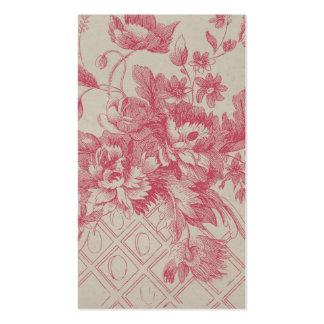 Flores rosadas del vintage tarjeta de visita