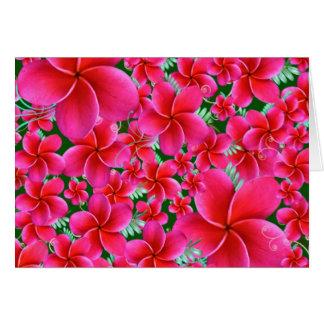 Flores rosadas e intensas, cumpleaños de la esposa tarjeta de felicitación