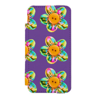 Flores rosadas, púrpuras, amarillas en violeta funda cartera para iPhone 5 watson