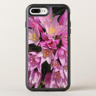Flores rosadas y amarillas tropicales funda OtterBox symmetry para iPhone 7 plus