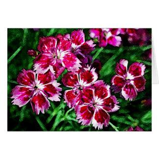 Flores rosadas y blancas poco rojas felicitacion