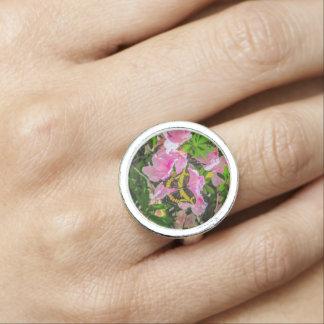 Flores rosadas y el anillo de la mariposa