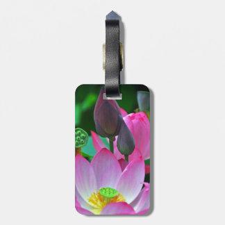 Flores rosados de Lotus Etiqueta Para Maletas