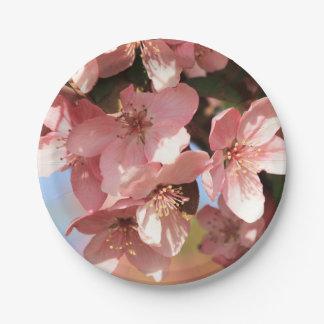 Flores rosados plato de papel