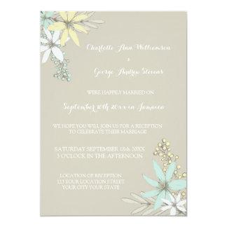 Flores rústicas de la primavera de la recepción invitación 12,7 x 17,8 cm