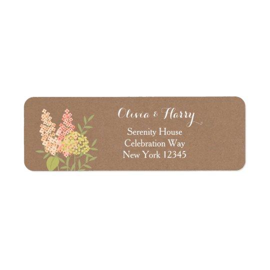 Flores rústicas del país - falsa etiqueta del boda etiqueta de remite