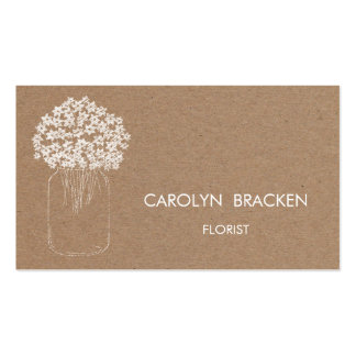 Flores rústicas del tarro de albañil del papel de plantilla de tarjeta personal