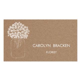 Flores rústicas del tarro de albañil del papel de tarjetas de visita