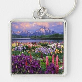 Flores salvajes de la montaña llavero cuadrado plateado