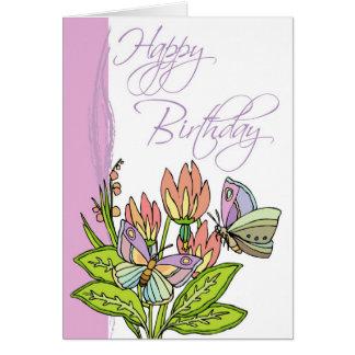 Flores salvajes y mariposas tarjeta