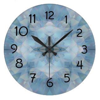 Flores suaves reloj redondo grande