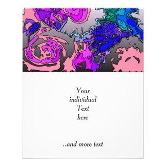 flores surrealistas, rosadas tarjetas informativas
