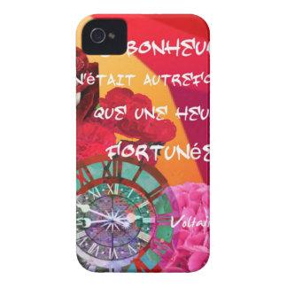 Flores, tiempo y mensaje de la felicidad carcasa para iPhone 4 de Case-Mate