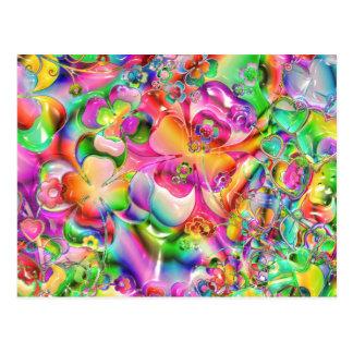 Flores torcidas extracto del color postal