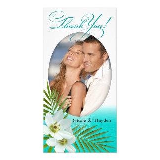 Flores tropicales de la playa de la hawaiana tarjeta fotográfica