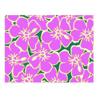 Flores tropicales de Luau del hibisco hawaiano Postal