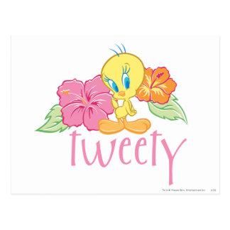 Flores tropicales de Tweety Postal