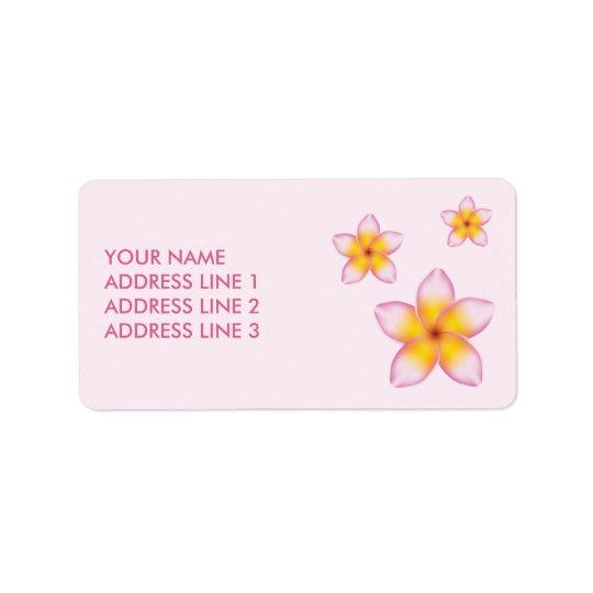Flores tropicales rosadas y personalizado Info del Etiquetas De Dirección
