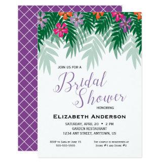 Flores tropicales y ducha nupcial de la rama de la invitación 12,7 x 17,8 cm