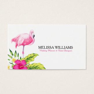 Flores tropicales y flamenco rosado tarjeta de visita