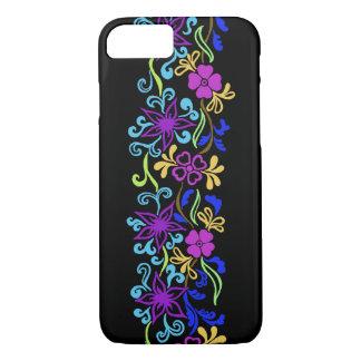 Flores vibrantes, coloridas con las hojas y funda iPhone 7