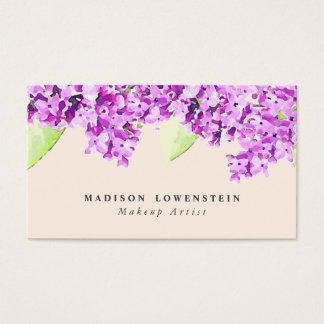 Flores violetas de la lila de la acuarela tarjeta de negocios