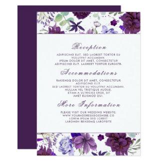 Flores violetas del ciruelo que casan a la huésped invitación 11,4 x 15,8 cm