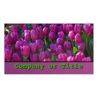 Flores violetas del tulipán plantillas de tarjeta de negocio